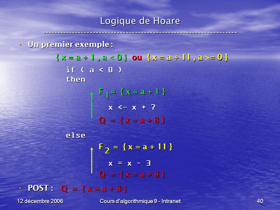 12 décembre 2006Cours d algorithmique 9 - Intranet40 Logique de Hoare ----------------------------------------------------------------- Un premier exemple : Un premier exemple : POST : POST : if ( a < 0 ) then x <- x + 7 x <- x + 7else x = x – 3 x = x – 3 Q = { x = a + 8 } F = { x = a + 11 } 2 F = { x = a + 1 } 1 { x = a + 1, a = 0 }