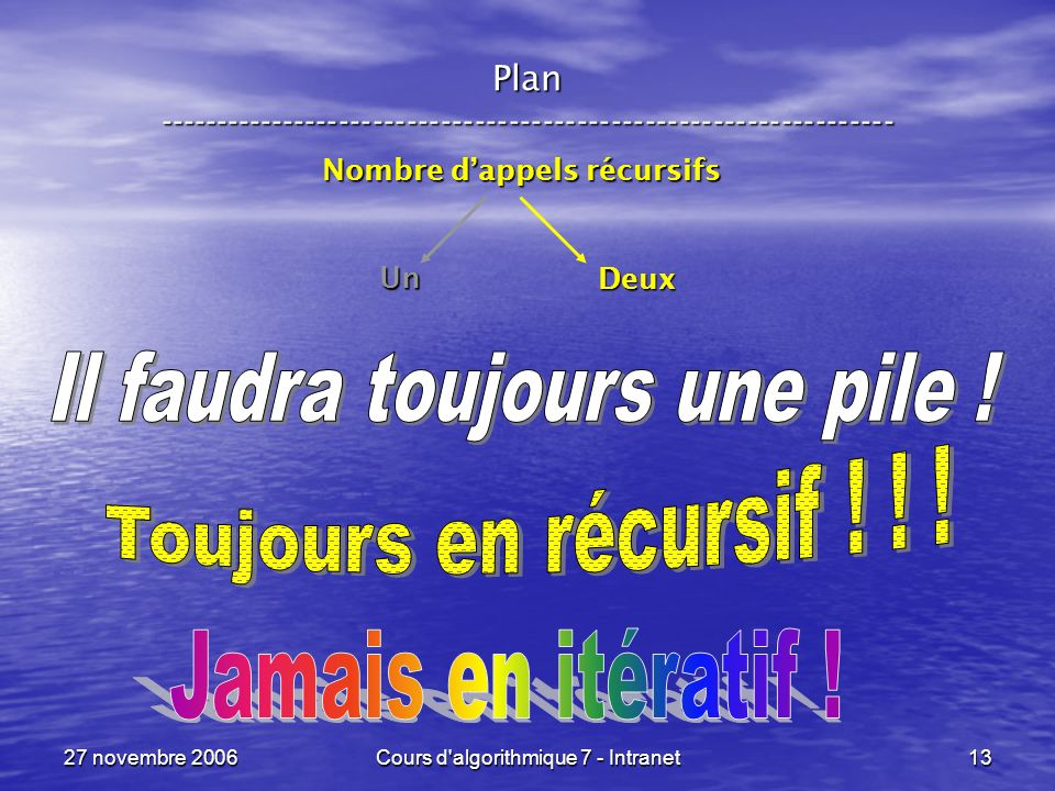 27 novembre 2006Cours d algorithmique 7 - Intranet13 Plan ----------------------------------------------------------------- Nombre dappels récursifs Un Deux