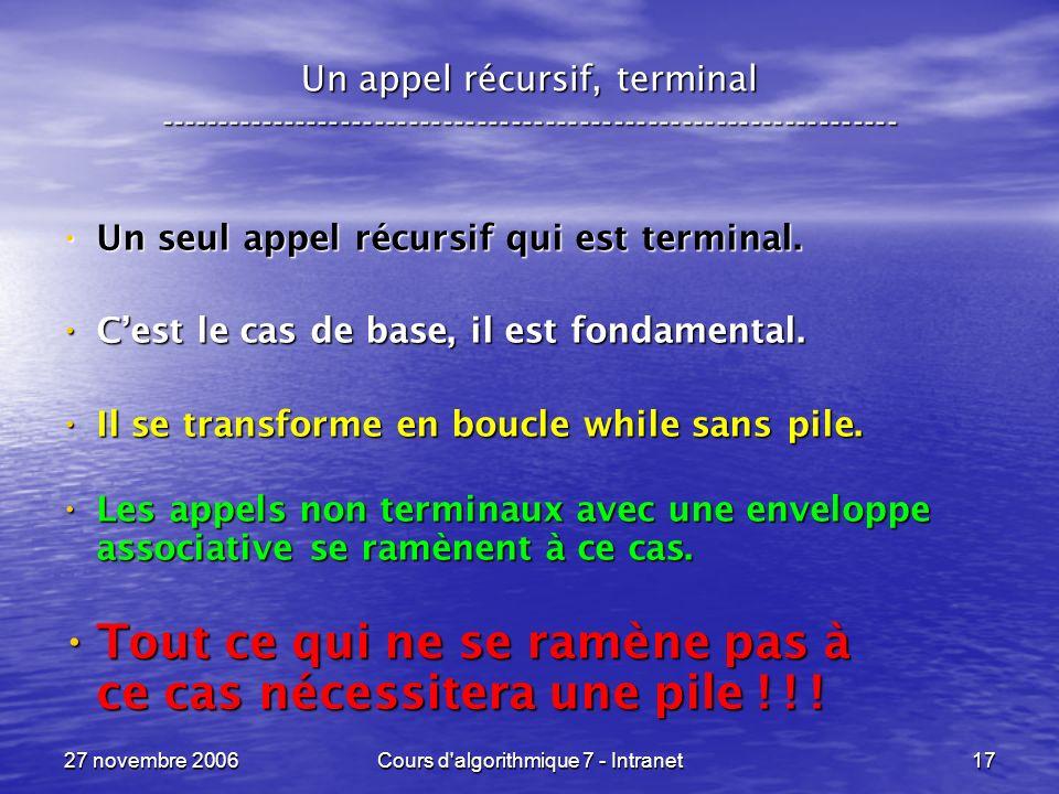 27 novembre 2006Cours d algorithmique 7 - Intranet17 Un appel récursif, terminal ----------------------------------------------------------------- Un seul appel récursif qui est terminal.