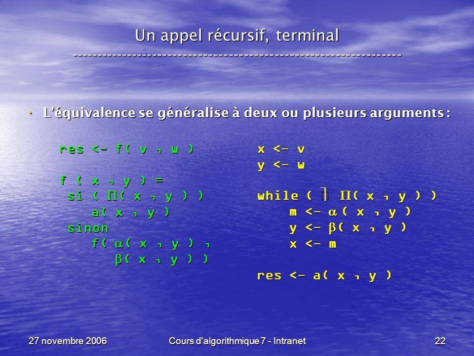 27 novembre 2006Cours d algorithmique 7 - Intranet22 Un appel récursif, terminal ----------------------------------------------------------------- Léquivalence se généralise à deux ou plusieurs arguments : Léquivalence se généralise à deux ou plusieurs arguments : x <- v y <- w while ( ( x, y ) ) m <- ( x, y ) m <- ( x, y ) y <- ( x, y ) y <- ( x, y ) x <- m x <- m res <- a( x, y ) res <- f( v, w ) f ( x, y ) = si ( ( x, y ) ) si ( ( x, y ) ) a( x, y ) a( x, y ) sinon sinon f( ( x, y ), f( ( x, y ), ( x, y ) ) ( x, y ) )