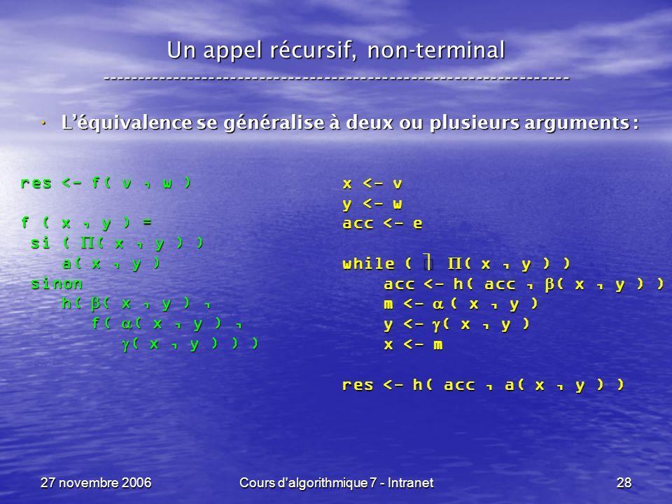 27 novembre 2006Cours d algorithmique 7 - Intranet28 Un appel récursif, non-terminal ----------------------------------------------------------------- Léquivalence se généralise à deux ou plusieurs arguments : Léquivalence se généralise à deux ou plusieurs arguments : res <- f( v, w ) f ( x, y ) = si ( ( x, y ) ) si ( ( x, y ) ) a( x, y ) a( x, y ) sinon sinon h( ( x, y ), h( ( x, y ), f( ( x, y ), f( ( x, y ), ( x, y ) ) ) ( x, y ) ) ) x <- v y <- w acc <- e while ( ( x, y ) ) acc <- h( acc, ( x, y ) ) acc <- h( acc, ( x, y ) ) m <- ( x, y ) m <- ( x, y ) y <- ( x, y ) y <- ( x, y ) x <- m x <- m res <- h( acc, a( x, y ) )