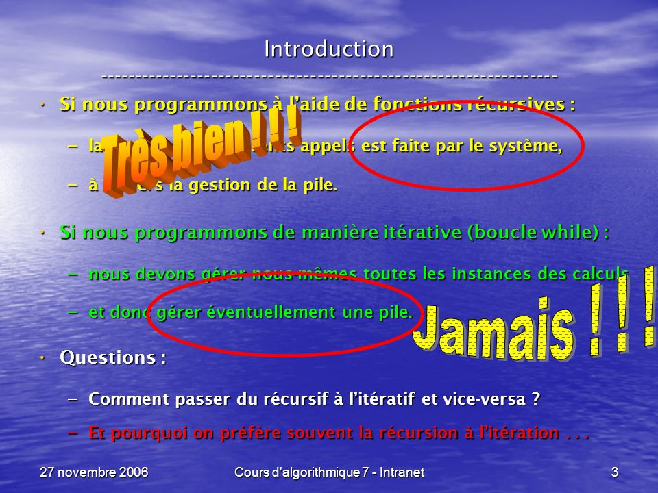 27 novembre 2006Cours d'algorithmique 7 - Intranet3 Introduction ----------------------------------------------------------------- Si nous programmons