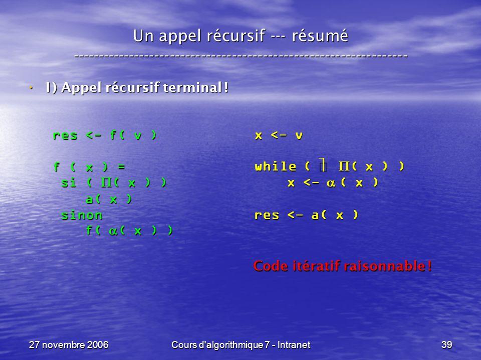 27 novembre 2006Cours d algorithmique 7 - Intranet39 Un appel récursif --- résumé ----------------------------------------------------------------- 1) Appel récursif terminal .
