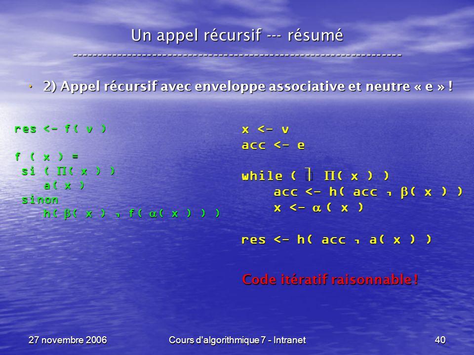 27 novembre 2006Cours d algorithmique 7 - Intranet40 Un appel récursif --- résumé ----------------------------------------------------------------- 2) Appel récursif avec enveloppe associative et neutre « e » .