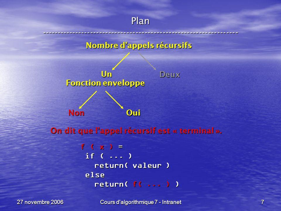 27 novembre 2006Cours d algorithmique 7 - Intranet7 Plan ----------------------------------------------------------------- Fonction enveloppe Non Oui Nombre dappels récursifs Un Deux On dit que lappel récursif est « terminal ».