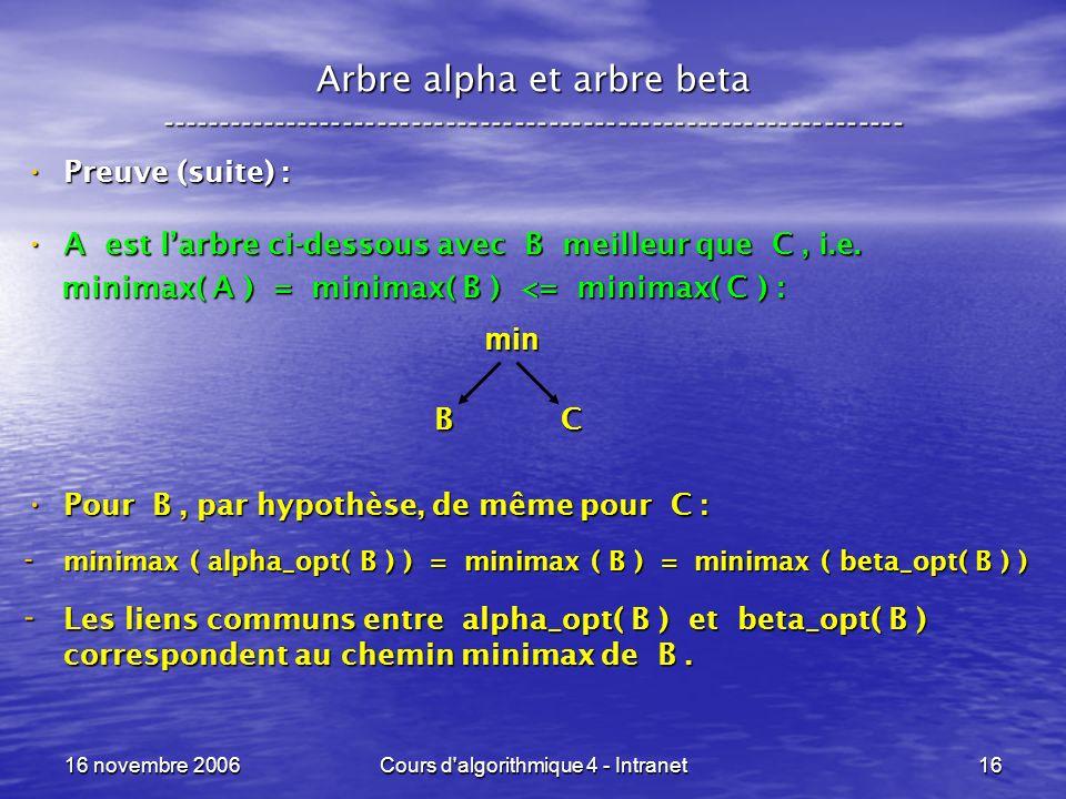 16 novembre 2006Cours d algorithmique 4 - Intranet16 Arbre alpha et arbre beta ----------------------------------------------------------------- Preuve (suite) : Preuve (suite) : A est larbre ci-dessous avec B meilleur que C, i.e.