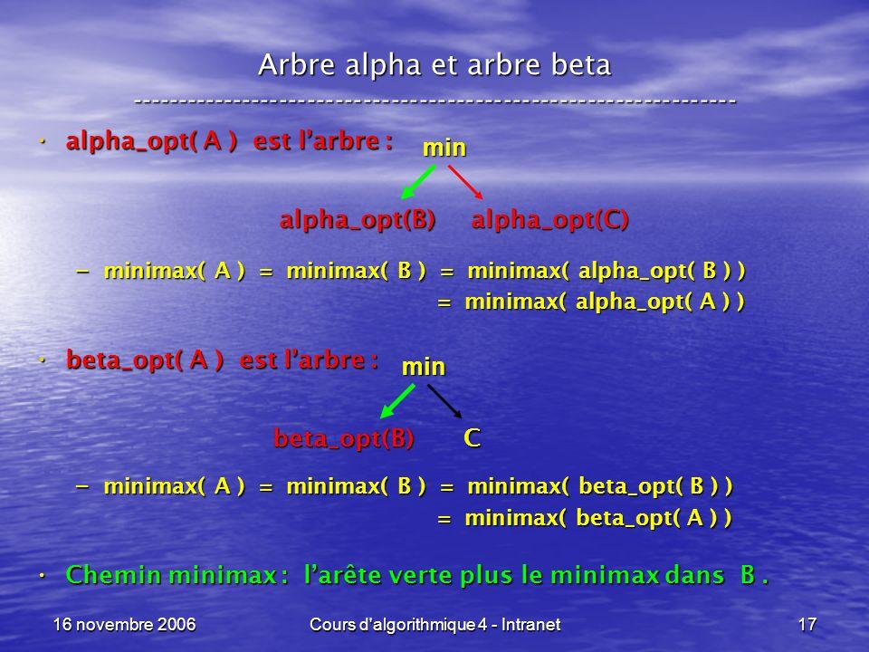 16 novembre 2006Cours d algorithmique 4 - Intranet17 Arbre alpha et arbre beta ----------------------------------------------------------------- alpha_opt( A ) est larbre : alpha_opt( A ) est larbre : – minimax( A ) = minimax( B ) = minimax( alpha_opt( B ) ) = minimax( alpha_opt( A ) ) = minimax( alpha_opt( A ) ) beta_opt( A ) est larbre : beta_opt( A ) est larbre : – minimax( A ) = minimax( B ) = minimax( beta_opt( B ) ) = minimax( beta_opt( A ) ) = minimax( beta_opt( A ) ) Chemin minimax : larête verte plus le minimax dans B.