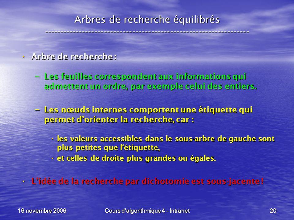 16 novembre 2006Cours d algorithmique 4 - Intranet20 Arbres de recherche équilibrés ----------------------------------------------------------------- Arbre de recherche : Arbre de recherche : – Les feuilles correspondent aux informations qui admettent un ordre, par exemple celui des entiers.