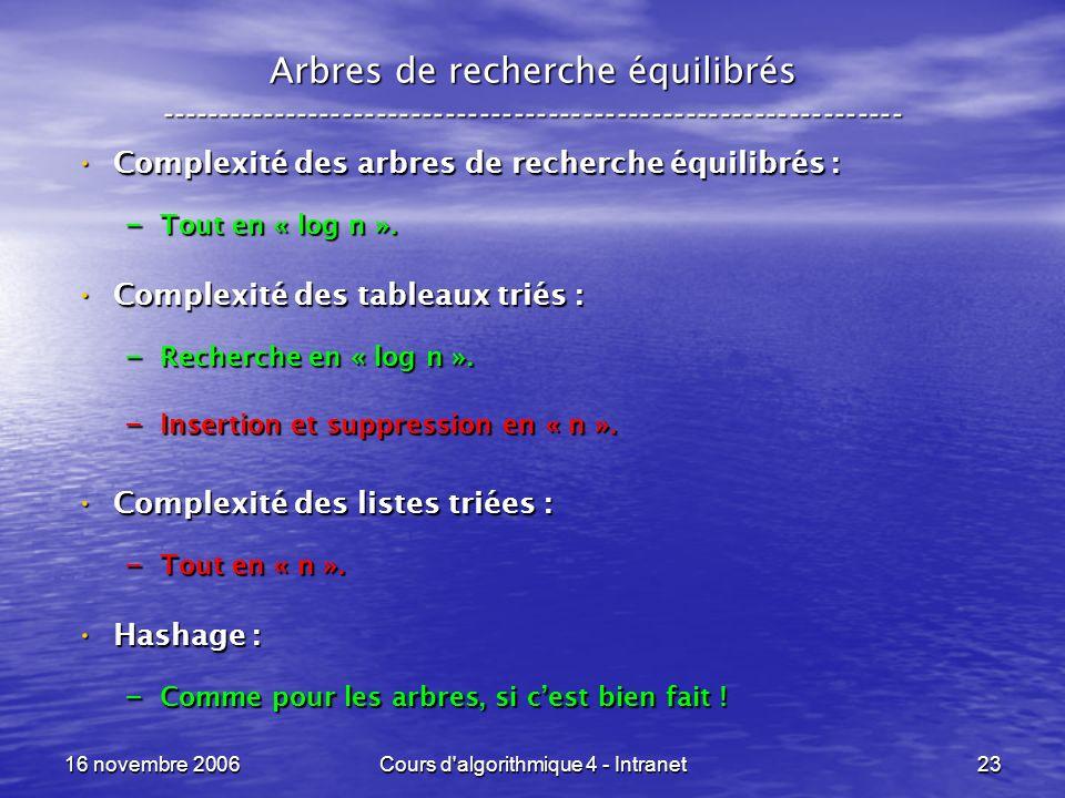 16 novembre 2006Cours d algorithmique 4 - Intranet23 Arbres de recherche équilibrés ----------------------------------------------------------------- Complexité des arbres de recherche équilibrés : Complexité des arbres de recherche équilibrés : – Tout en « log n ».