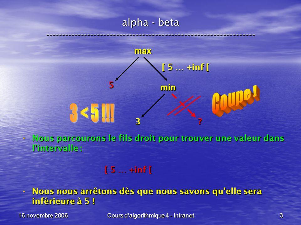 16 novembre 2006Cours d algorithmique 4 - Intranet24 Arbres 2 - 3 - 4 ----------------------------------------------------------------- Trois types de nœuds internes : Trois types de nœuds internes : – binaires avec une étiquette pour les séparer, – ternaires avec deux étiquettes pour les séparer, – quaternaires avec trois étiquettes pour les séparer.