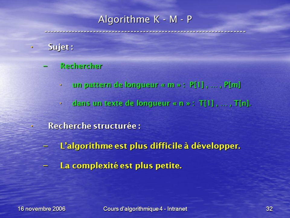 16 novembre 2006Cours d algorithmique 4 - Intranet32 Algorithme K - M - P ----------------------------------------------------------------- Sujet : Sujet : – Rechercher un pattern de longueur « m » : P[1], …, P[m] un pattern de longueur « m » : P[1], …, P[m] dans un texte de longueur « n » : T[1], …, T[n].