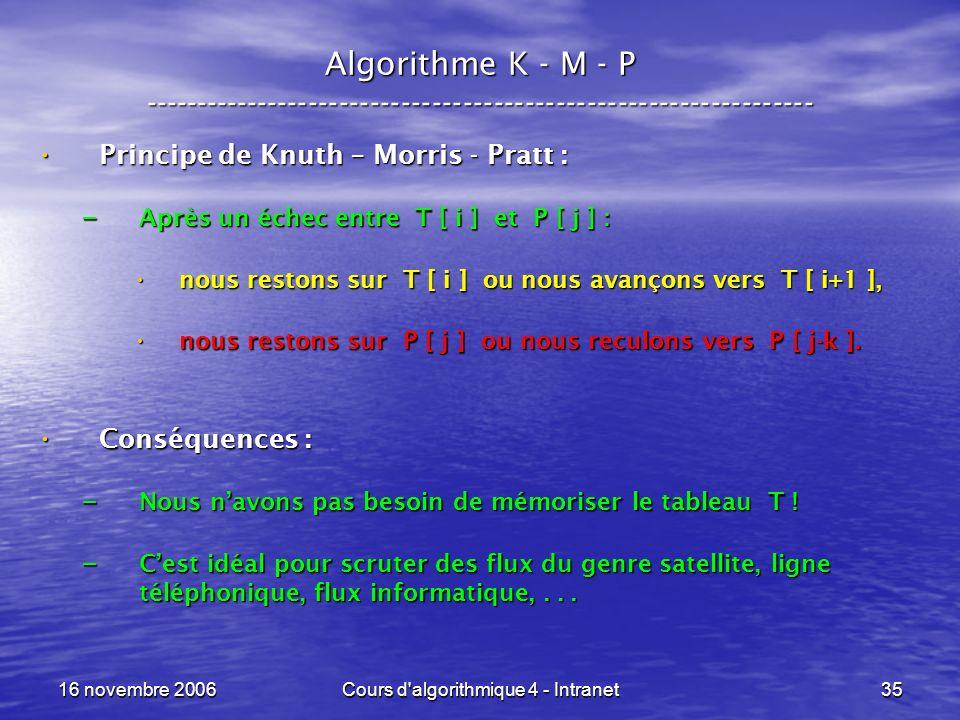 16 novembre 2006Cours d algorithmique 4 - Intranet35 Algorithme K - M - P ----------------------------------------------------------------- Principe de Knuth – Morris - Pratt : Principe de Knuth – Morris - Pratt : – Après un échec entre T [ i ] et P [ j ] : nous restons sur T [ i ] ou nous avançons vers T [ i+1 ], nous restons sur T [ i ] ou nous avançons vers T [ i+1 ], nous restons sur P [ j ] ou nous reculons vers P [ j-k ].