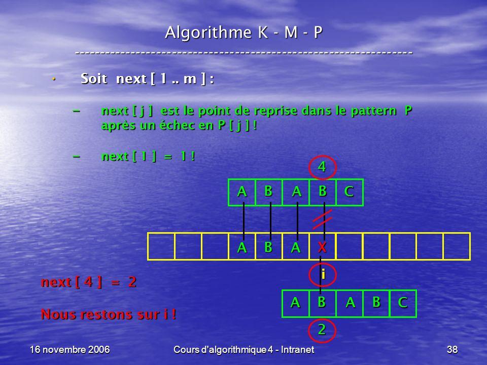 16 novembre 2006Cours d algorithmique 4 - Intranet38 Algorithme K - M - P ----------------------------------------------------------------- Soit next [ 1..