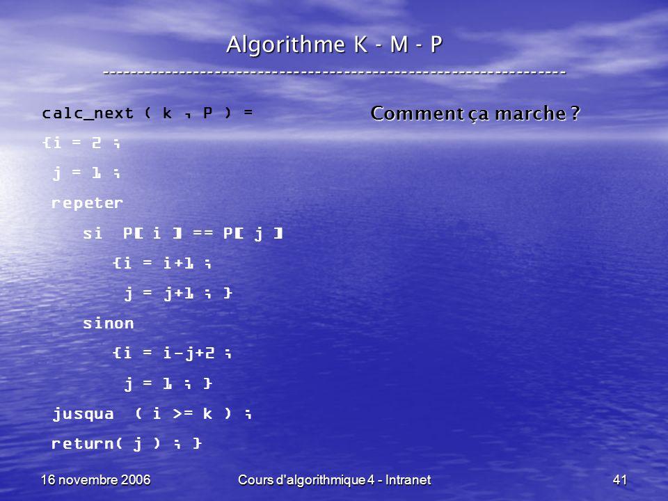 16 novembre 2006Cours d algorithmique 4 - Intranet41 Algorithme K - M - P ----------------------------------------------------------------- calc_next ( k, P ) = {i = 2 ; j = 1 ; repeter si P[ i ] == P[ j ] {i = i+1 ; j = j+1 ; } sinon {i = i-j+2 ; j = 1 ; } jusqua ( i >= k ) ; return( j ) ; } Comment ça marche ?