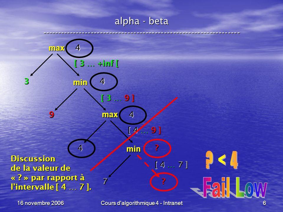 16 novembre 2006Cours d algorithmique 4 - Intranet7 alpha - beta ----------------------------------------------------------------- max [ 3 … +inf [ min 9 3 [ 3 … 9 ] max .