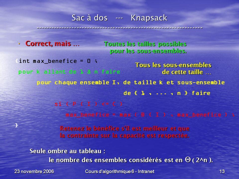 23 novembre 2006Cours d'algorithmique 6 - Intranet13 Sac à dos --- Knapsack ----------------------------------------------------------------- Correct,