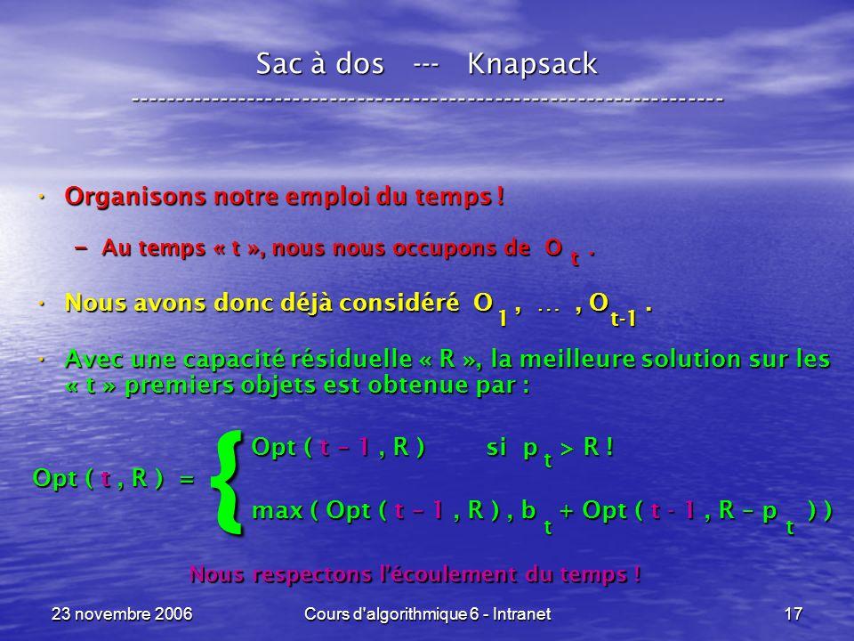 23 novembre 2006Cours d'algorithmique 6 - Intranet17 Sac à dos --- Knapsack ----------------------------------------------------------------- Organiso
