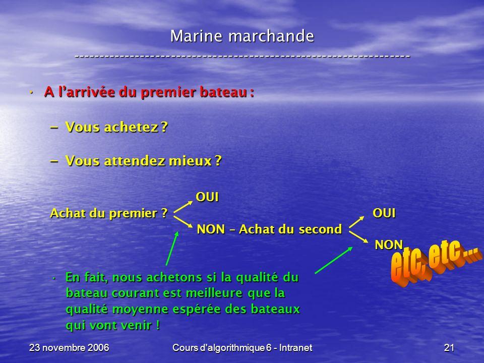 23 novembre 2006Cours d'algorithmique 6 - Intranet21 A larrivée du premier bateau : A larrivée du premier bateau : – Vous achetez ? – Vous attendez mi