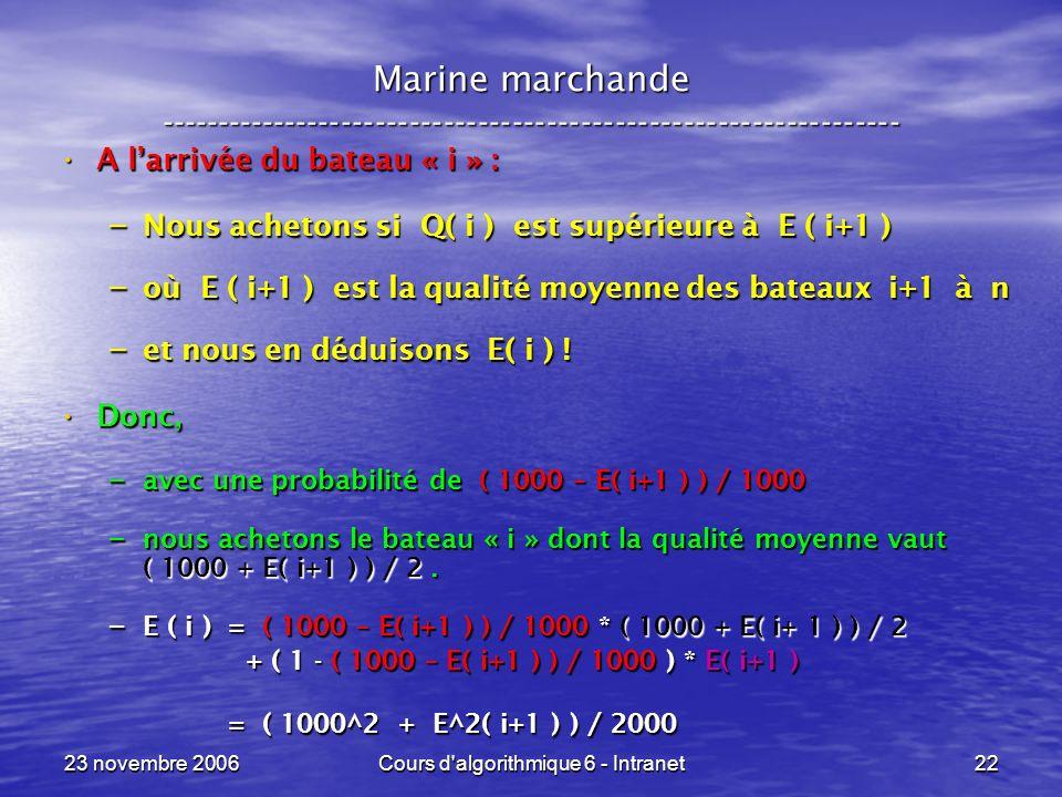 23 novembre 2006Cours d'algorithmique 6 - Intranet22 A larrivée du bateau « i » : A larrivée du bateau « i » : – Nous achetons si Q( i ) est supérieur