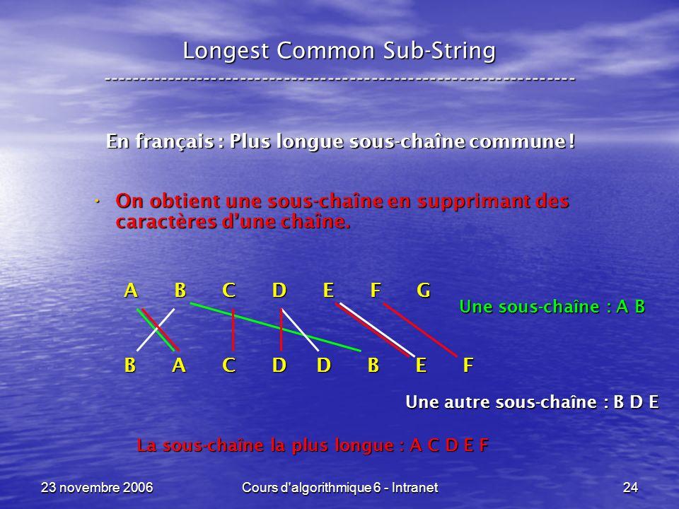23 novembre 2006Cours d'algorithmique 6 - Intranet24 En français : Plus longue sous-chaîne commune ! On obtient une sous-chaîne en supprimant des cara