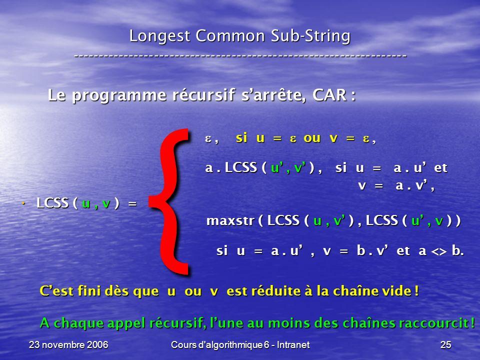 23 novembre 2006Cours d'algorithmique 6 - Intranet25, si u = ou v =, si u = ou v = a. LCSS ( u, v ), si u = a. u et a. LCSS ( u, v ), si u = a. u et v