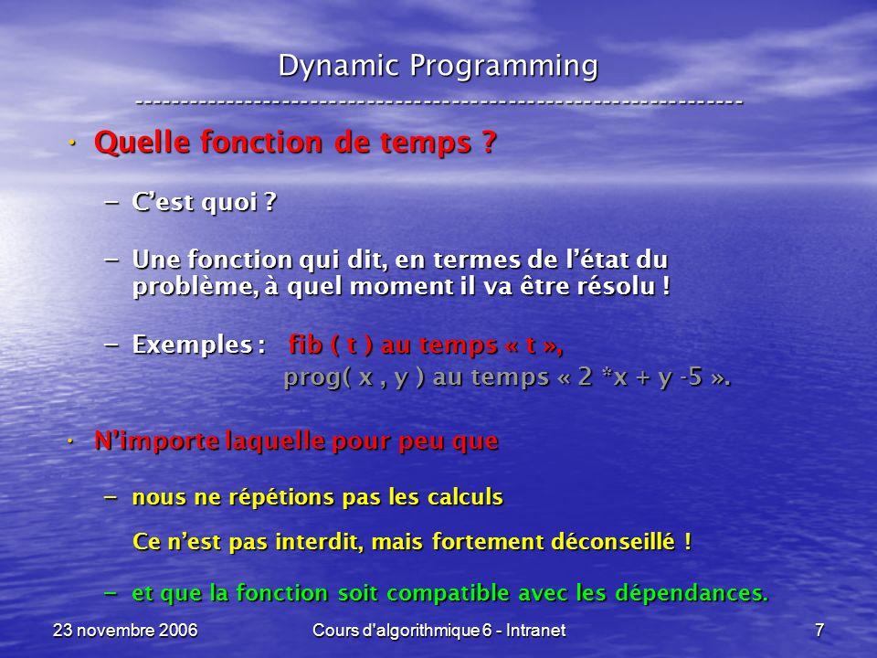 23 novembre 2006Cours d algorithmique 6 - Intranet18 Sac à dos --- Knapsack ----------------------------------------------------------------- C Opt ( t, R ) R Opt ( t-1, R ) Si lobjet nest pas trop lourd .