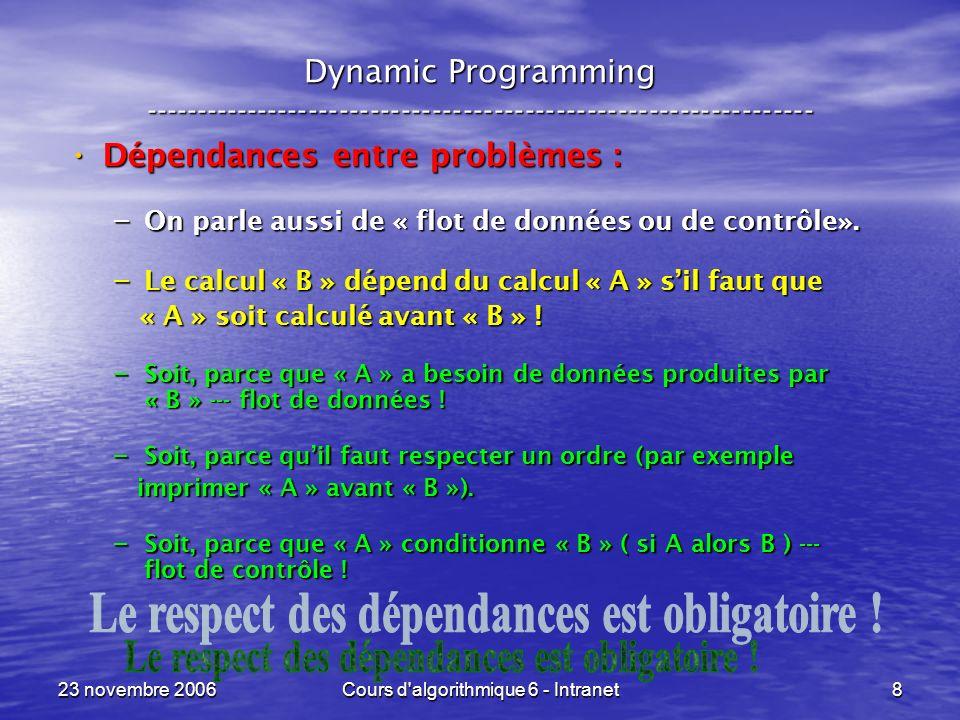 23 novembre 2006Cours d algorithmique 6 - Intranet9 Dynamic Programming ----------------------------------------------------------------- En fait, les dépendances comportent une notion de temporalité sous la forme de : En fait, les dépendances comportent une notion de temporalité sous la forme de : AVANT --- APRES AVANT --- APRES DABORD --- ENSUITE DABORD --- ENSUITE La fonction de temps « f » dit de manière plus précise : La fonction de temps « f » dit de manière plus précise : QUAND QUAND La contrainte sur « f » dit que : La contrainte sur « f » dit que : – dès que « A » doit être avant « B » pour des raisons de dépendances, alors f ( A ) < f ( B ) f ( A ) < f ( B ) « f » est alors dite « compatible avec les dépendances ».