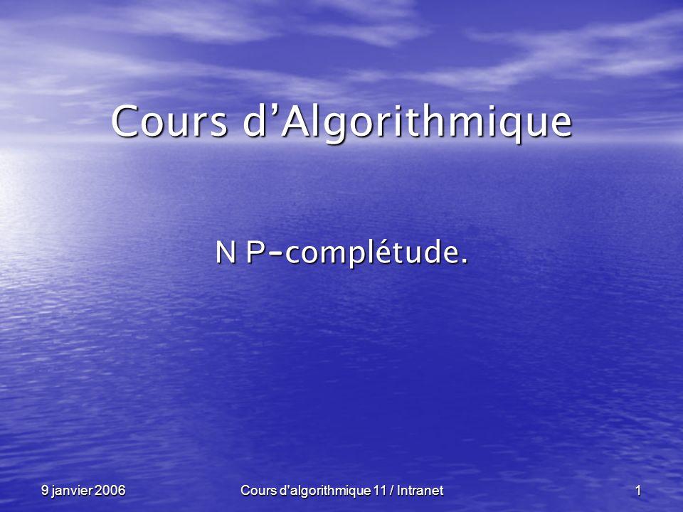 9 janvier 2006Cours d algorithmique 11 / Intranet12 Des exemples ----------------------------------------------------------------- Le « Voyageur de Commerce », en anglais « Traveling Salesman Problem » ( TSP ), est « N P –difficile » : Le « Voyageur de Commerce », en anglais « Traveling Salesman Problem » ( TSP ), est « N P –difficile » : « n » villes, « n » villes, un réseau routier entre ces villes avec les distances, un réseau routier entre ces villes avec les distances, La question : La question : Quel est le coût du circuit (point de départ Quel est le coût du circuit (point de départ = point darrivée) le moins cher qui visite = point darrivée) le moins cher qui visite chaque ville une et une seule fois .