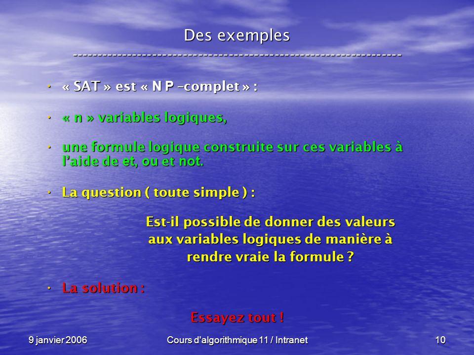 9 janvier 2006Cours d algorithmique 11 / Intranet10 Des exemples ----------------------------------------------------------------- « SAT » est « N P –complet » : « SAT » est « N P –complet » : « n » variables logiques, « n » variables logiques, une formule logique construite sur ces variables à laide de et, ou et not.