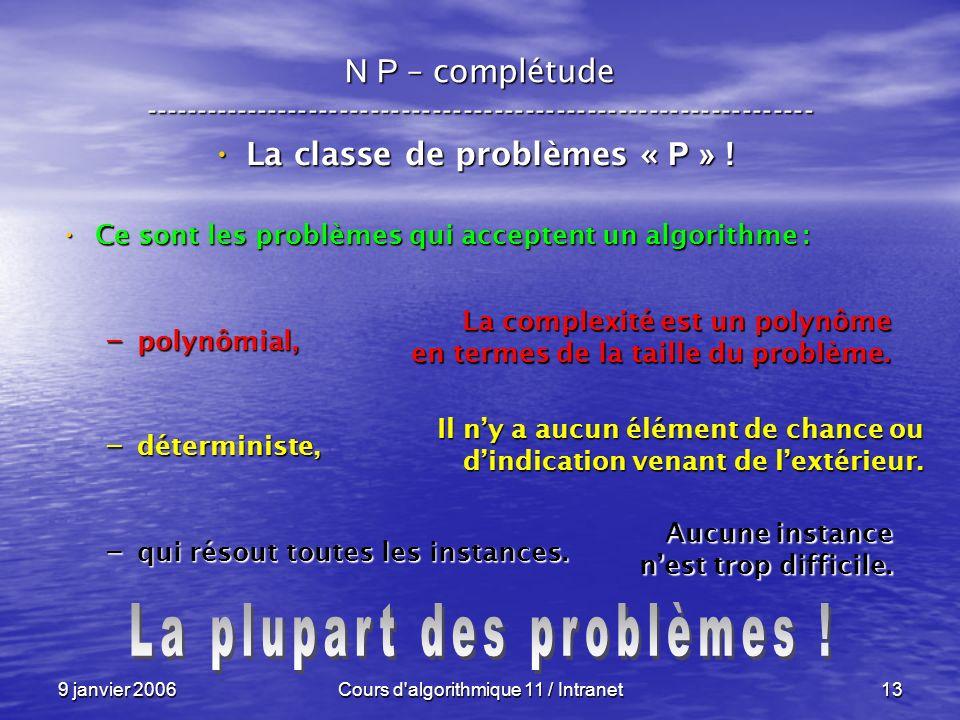 9 janvier 2006Cours d algorithmique 11 / Intranet13 N P – complétude ----------------------------------------------------------------- La classe de problèmes « P » .
