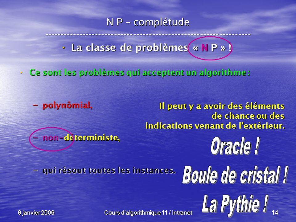 9 janvier 2006Cours d algorithmique 11 / Intranet14 N P – complétude ----------------------------------------------------------------- La classe de problèmes « N P » .