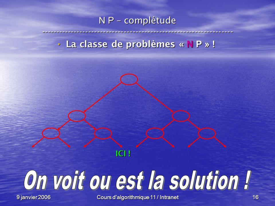 9 janvier 2006Cours d algorithmique 11 / Intranet16 N P – complétude ----------------------------------------------------------------- La classe de problèmes « N P » .