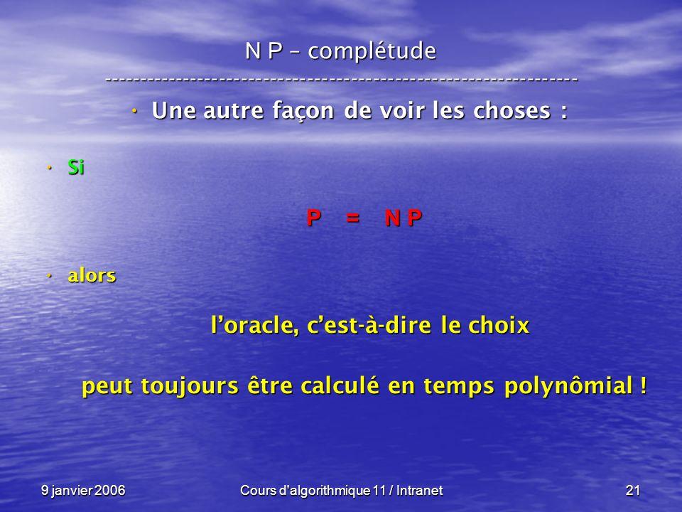 9 janvier 2006Cours d algorithmique 11 / Intranet21 N P – complétude ----------------------------------------------------------------- Une autre façon de voir les choses : Une autre façon de voir les choses : Si Si P = N P alors alors loracle, cest-à-dire le choix loracle, cest-à-dire le choix peut toujours être calculé en temps polynômial !