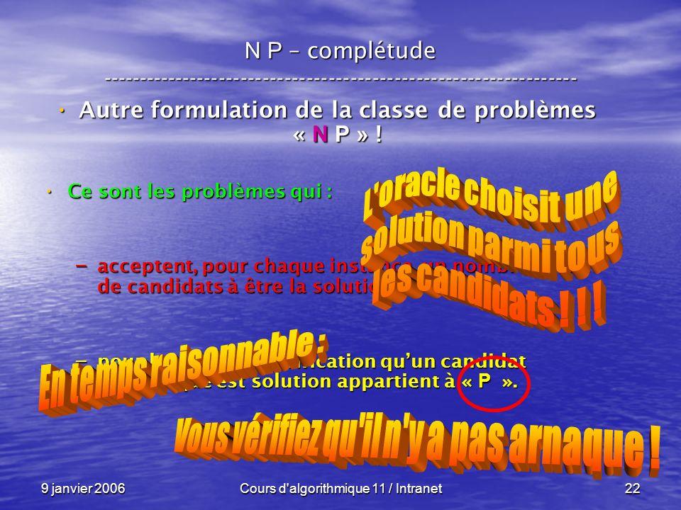 9 janvier 2006Cours d algorithmique 11 / Intranet22 N P – complétude ----------------------------------------------------------------- Autre formulation de la classe de problèmes « N P » .