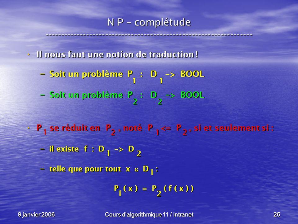 9 janvier 2006Cours d algorithmique 11 / Intranet25 N P – complétude ----------------------------------------------------------------- Il nous faut une notion de traduction .