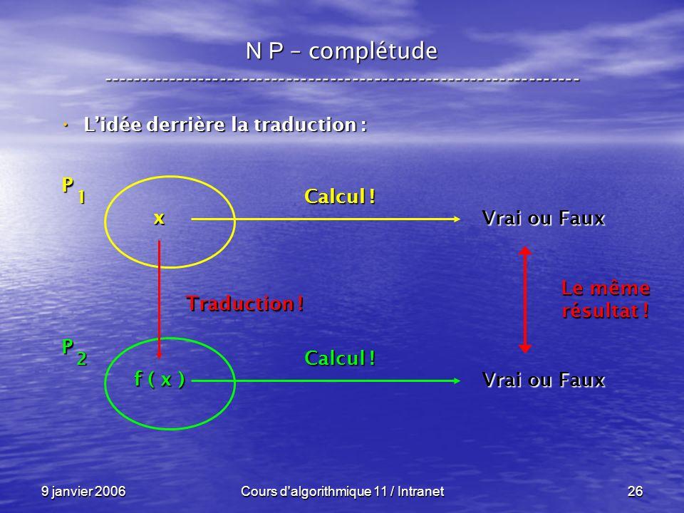 9 janvier 2006Cours d algorithmique 11 / Intranet26 N P – complétude ----------------------------------------------------------------- Lidée derrière la traduction : Lidée derrière la traduction : P 1 x Vrai ou Faux Calcul .