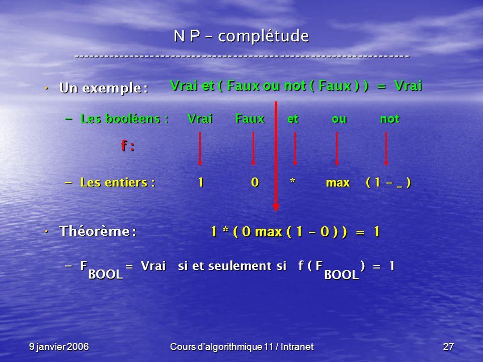 9 janvier 2006Cours d algorithmique 11 / Intranet27 N P – complétude ----------------------------------------------------------------- Un exemple : Un exemple : – Les booléens : Vrai Faux et ou not – Les entiers : 1 0 * max ( 1 - _ ) Théorème : Théorème : – F = Vrai si et seulement si f ( F ) = 1 f : BOOL BOOL Vrai et ( Faux ou not ( Faux ) ) = Vrai 1 * ( 0 max ( 1 - 0 ) ) = 1