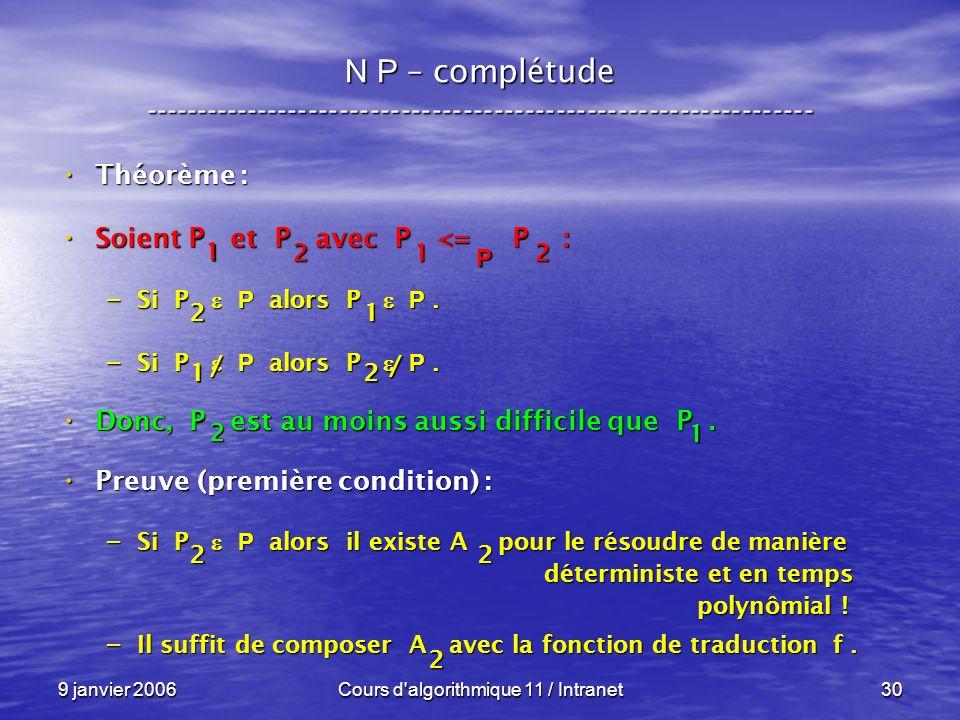 9 janvier 2006Cours d algorithmique 11 / Intranet30 N P – complétude ----------------------------------------------------------------- Théorème : Théorème : Soient P et P avec P <= P : Soient P et P avec P <= P : – Si P P alors P P.