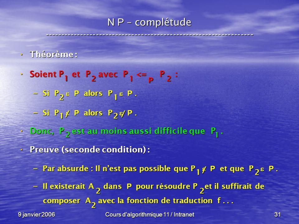 9 janvier 2006Cours d algorithmique 11 / Intranet31 N P – complétude ----------------------------------------------------------------- Théorème : Théorème : Soient P et P avec P <= P : Soient P et P avec P <= P : – Si P P alors P P.