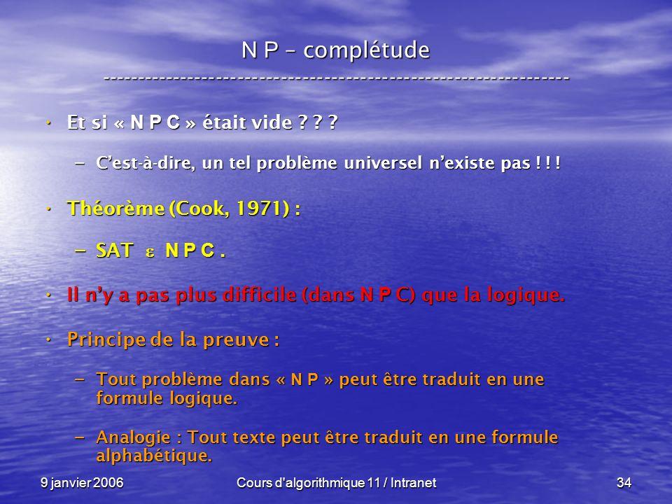 9 janvier 2006Cours d algorithmique 11 / Intranet34 N P – complétude ----------------------------------------------------------------- Et si « N P C » était vide .