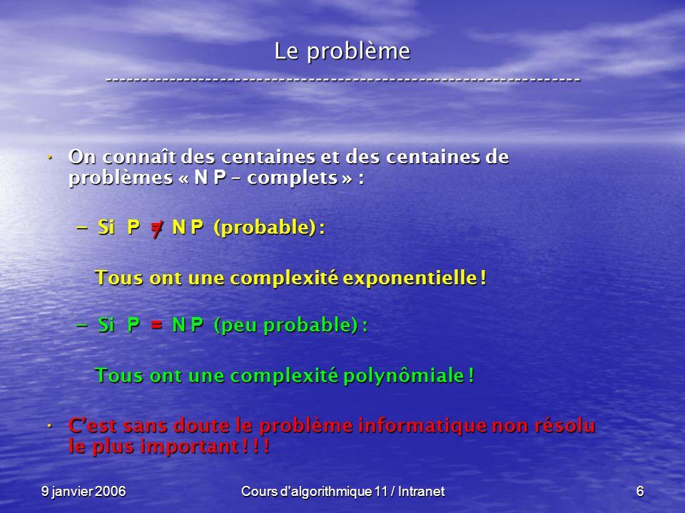 9 janvier 2006Cours d algorithmique 11 / Intranet6 Le problème ----------------------------------------------------------------- On connaît des centaines et des centaines de problèmes « N P – complets » : On connaît des centaines et des centaines de problèmes « N P – complets » : – Si P = N P (probable) : Tous ont une complexité exponentielle .