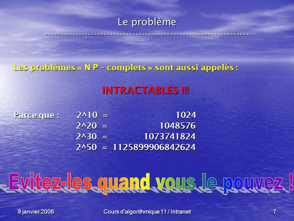 9 janvier 2006Cours d algorithmique 11 / Intranet8 Le problème ----------------------------------------------------------------- Un problème « N P – complet » est, Un problème « N P – complet » est, – de manière informelle, – mais correspondant à la pratique : un problème de décision ( OUI – NON ) un problème de décision ( OUI – NON ) qui se résout (pour lheure) par back-track qui se résout (pour lheure) par back-track (ou équivalent en complexité).