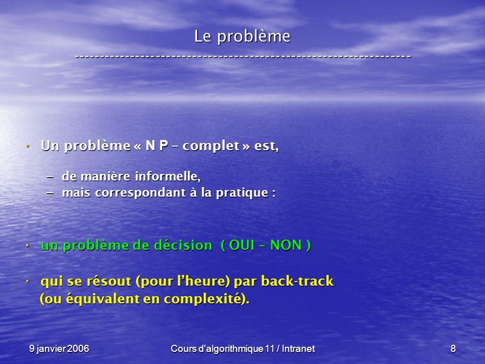 9 janvier 2006Cours d algorithmique 11 / Intranet9 Le problème ----------------------------------------------------------------- Un problème « N P – complet » est, Un problème « N P – complet » est, – de manière informelle, – mais correspondant à la pratique : un problème de décision ( OUI – NON ) un problème de décision ( OUI – NON ) qui se résout (pour lheure) par back-track qui se résout (pour lheure) par back-track (ou équivalent en complexité).