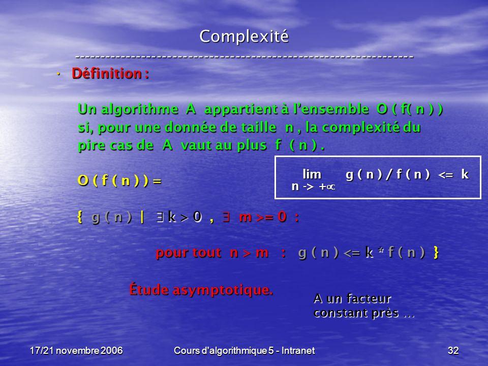 17/21 novembre 2006Cours d algorithmique 5 - Intranet32 Complexité ----------------------------------------------------------------- Définition : Définition : Un algorithme A appartient à lensemble O ( f( n ) ) si, pour une donnée de taille n, la complexité du pire cas de A vaut au plus f ( n ).