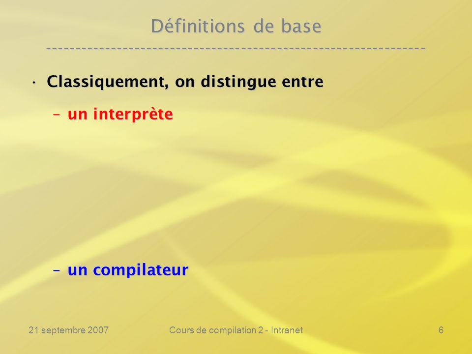 21 septembre 2007Cours de compilation 2 - Intranet27 Notations et définitions ---------------------------------------------------------------- Un interprète Int est un programme binaire dont les arguments sont :Un interprète Int est un programme binaire dont les arguments sont : –le texte source dun programme unaire Prog1.c –lunique donnée D de ce programme.