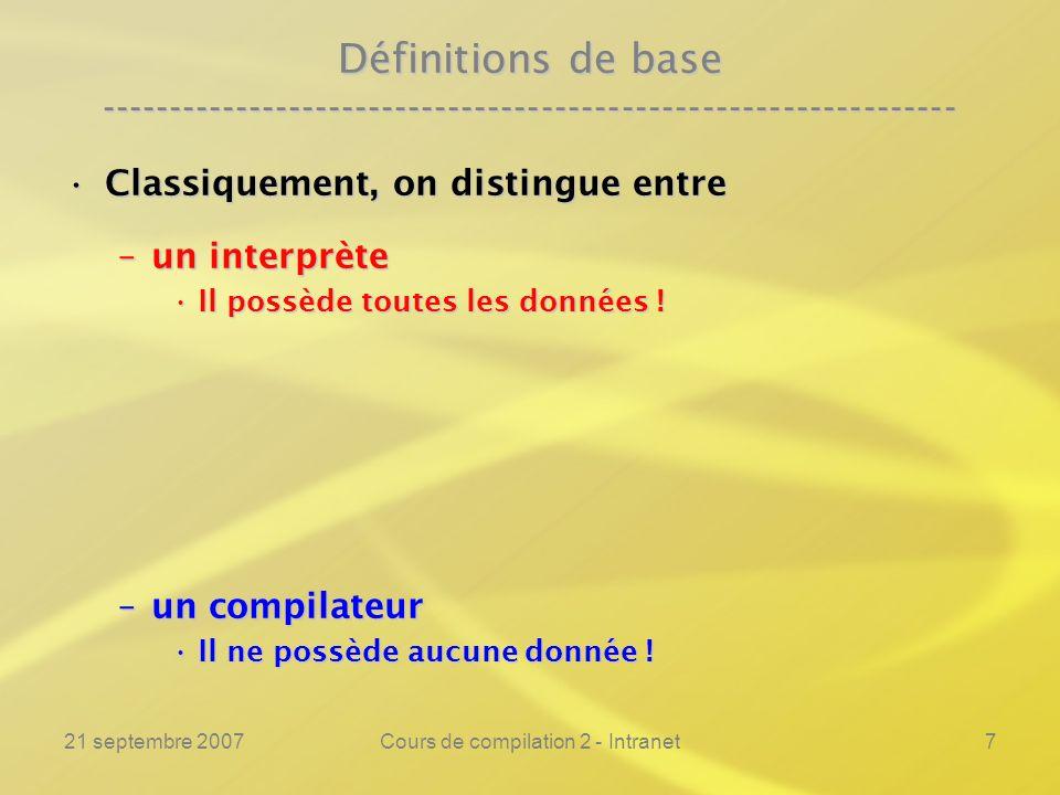 21 septembre 2007Cours de compilation 2 - Intranet128 Remarquable :Remarquable : Synthèse ---------------------------------------------------------------- Gen_Compil.o ( Ep.c ) = Int.o ( Gen_Compil.c, Ep.c ) = Int.o ( Gen_Compil.c, Ep.c ) = Int.o ( Ep.o ( Ep.c, Ep.c ), Ep.c ) = Int.o ( Ep.o ( Ep.c, Ep.c ), Ep.c ) = Ep.o ( Ep.c, Ep.c ) = Ep.o ( Ep.c, Ep.c ) = Gen_Compil.c = Gen_Compil.c