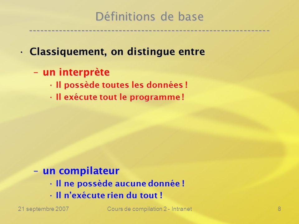 21 septembre 2007Cours de compilation 2 - Intranet9 Définitions de base ---------------------------------------------------------------- Classiquement, on distingue entreClassiquement, on distingue entre –un interprète Il possède toutes les données !Il possède toutes les données .