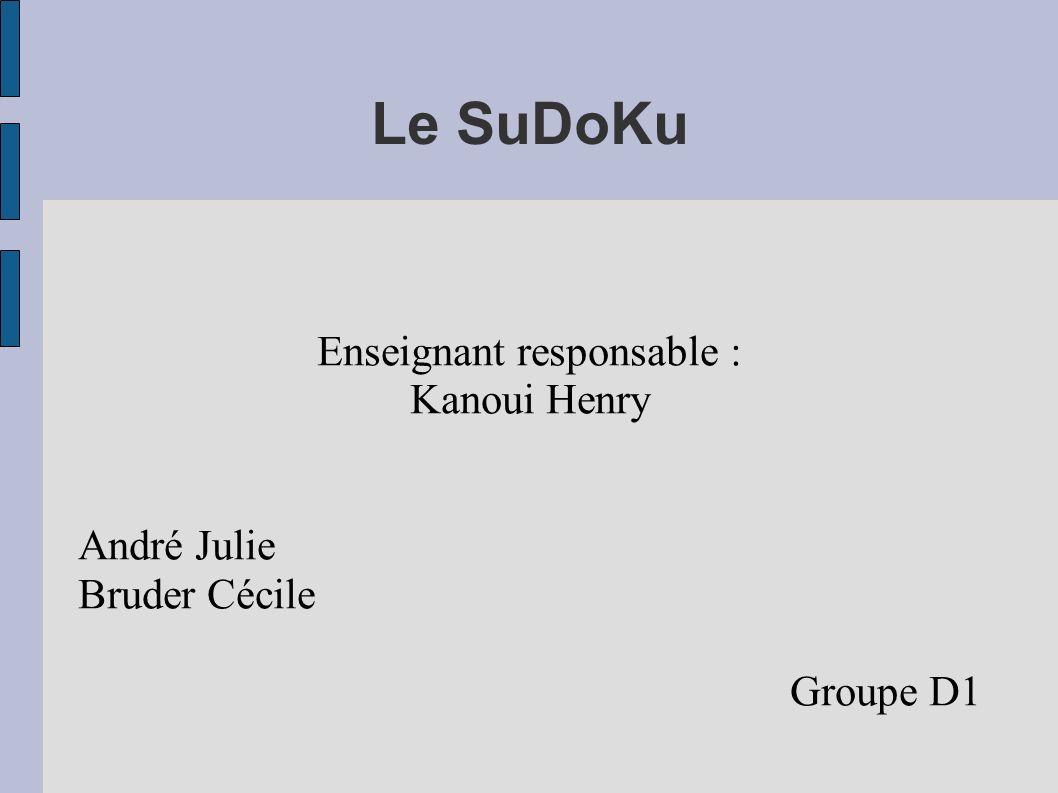 Le SuDoKu Enseignant responsable : Kanoui Henry André Julie Bruder Cécile Groupe D1