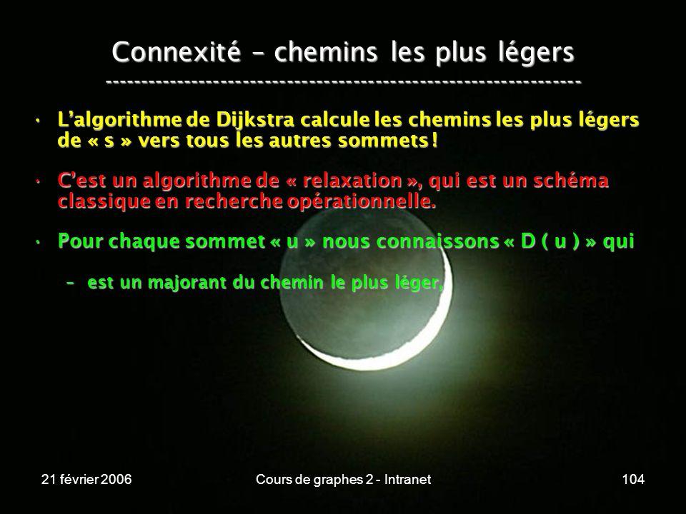 21 février 2006Cours de graphes 2 - Intranet104 Lalgorithme de Dijkstra calcule les chemins les plus légers de « s » vers tous les autres sommets !Lal