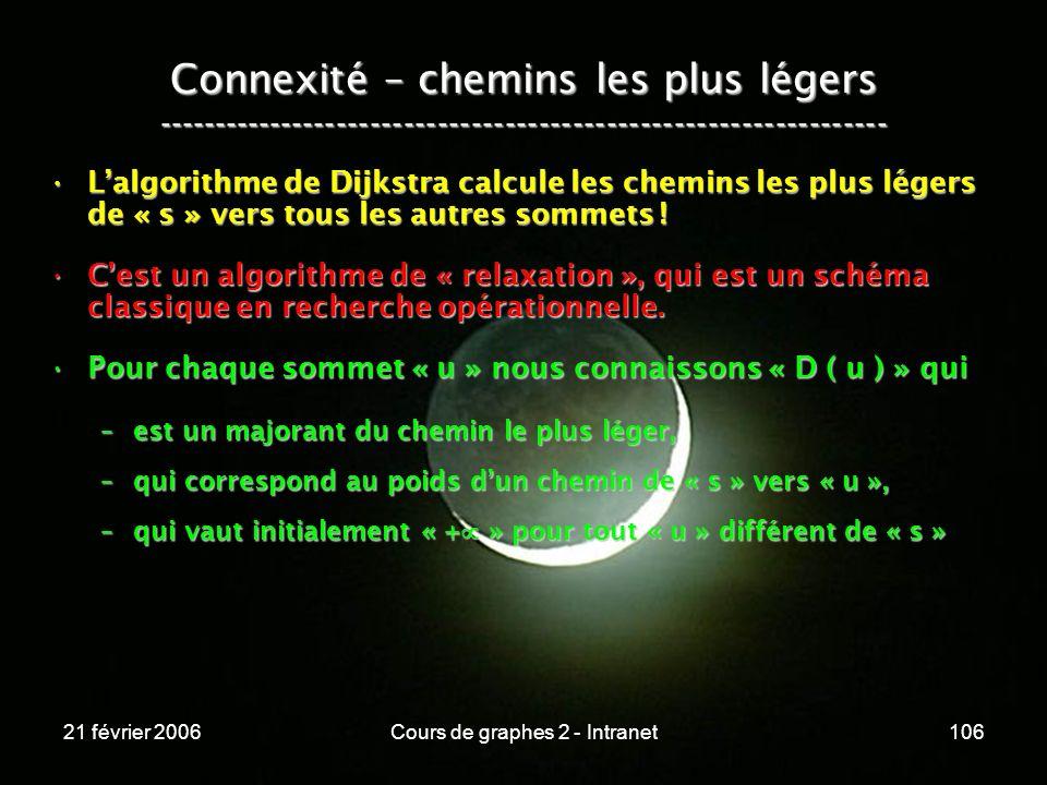 21 février 2006Cours de graphes 2 - Intranet106 Lalgorithme de Dijkstra calcule les chemins les plus légers de « s » vers tous les autres sommets !Lal